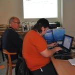 Hallands webbmaster fanns på plats hela helgen och lade ut den information som ringdes in från domarna